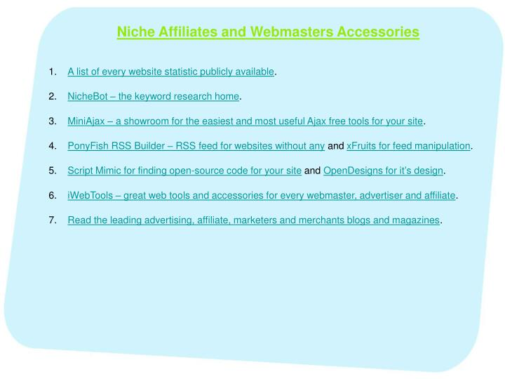 Niche Affiliates and Webmasters Accessories