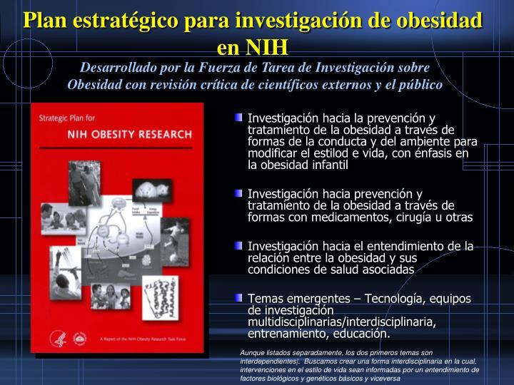 Plan estratgico para investigacin de obesidad en NIH