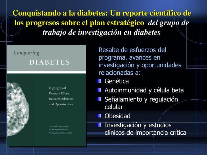 Conquistando a la diabetes: Un reporte científico de los progresos sobre el plan estratégico