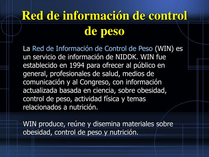 Red de información de control de peso