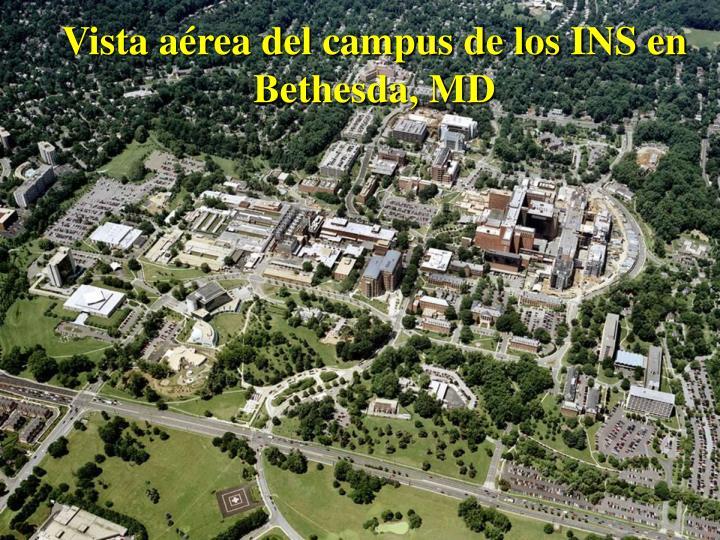 Vista aérea del campus de los INS en Bethesda, MD