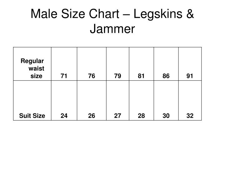 Male Size Chart – Legskins & Jammer