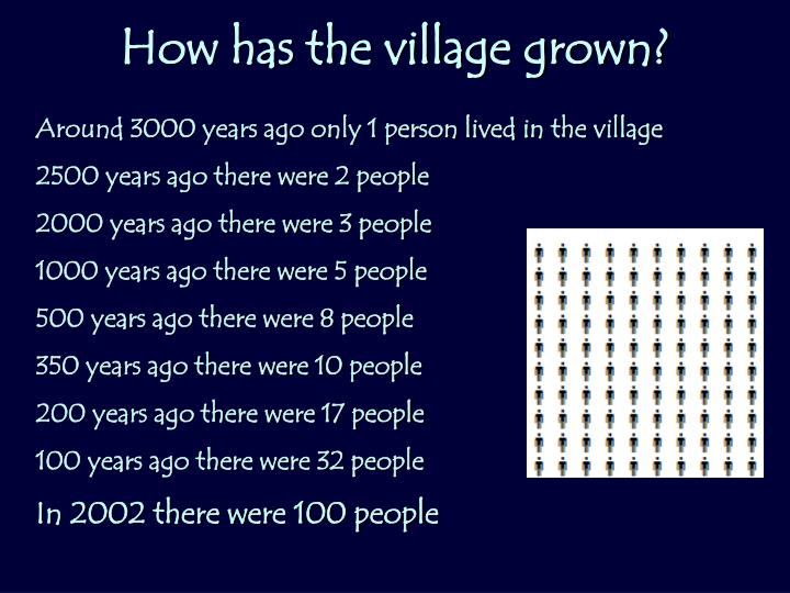 How has the village grown?