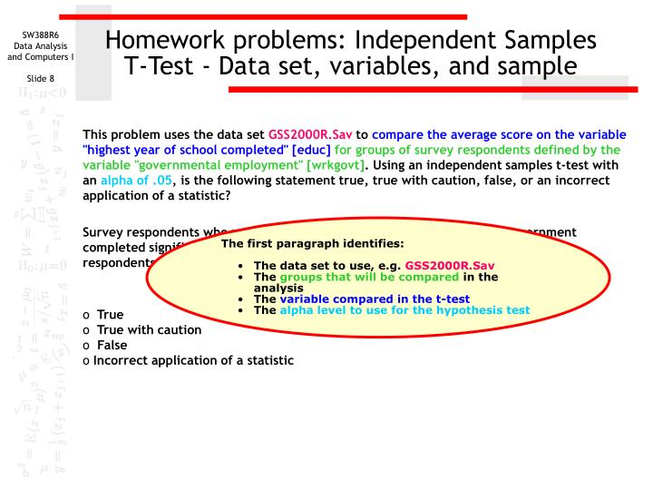 Homework problems: Independent Samples