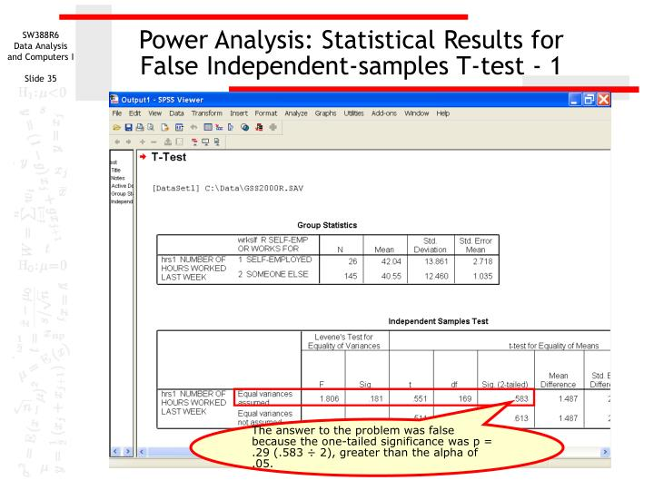 Power Analysis: Statistical Results for