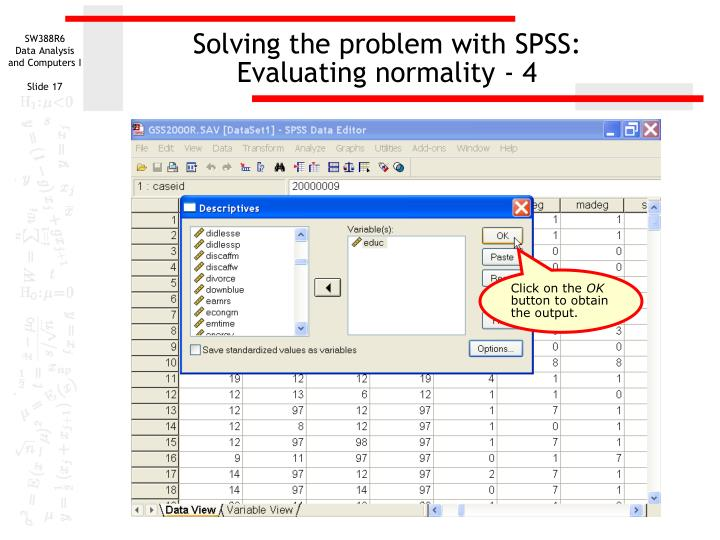 Solving the problem with SPSS: