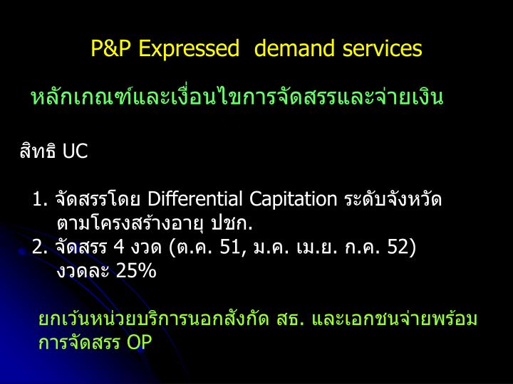 P&P Expressed  demand services