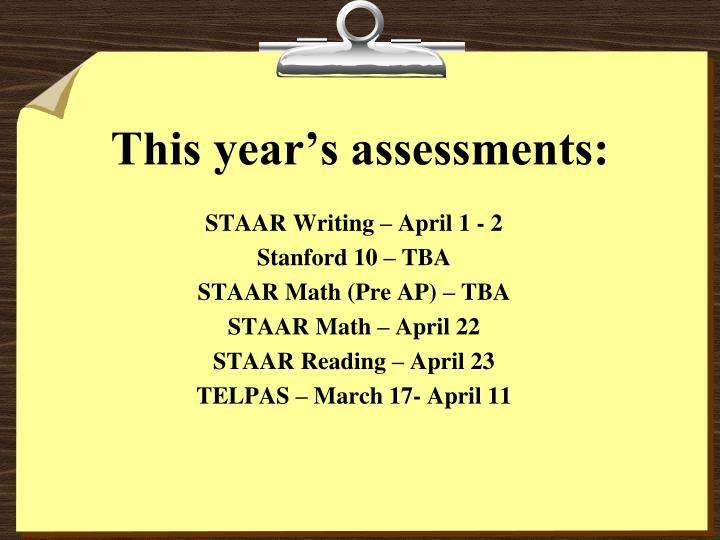 This year's assessments: