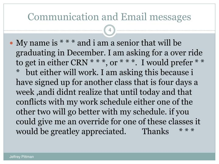 Communication and Email messages