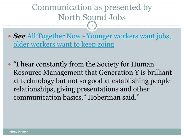 Communication as presented by