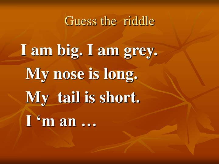 Guess the  riddle