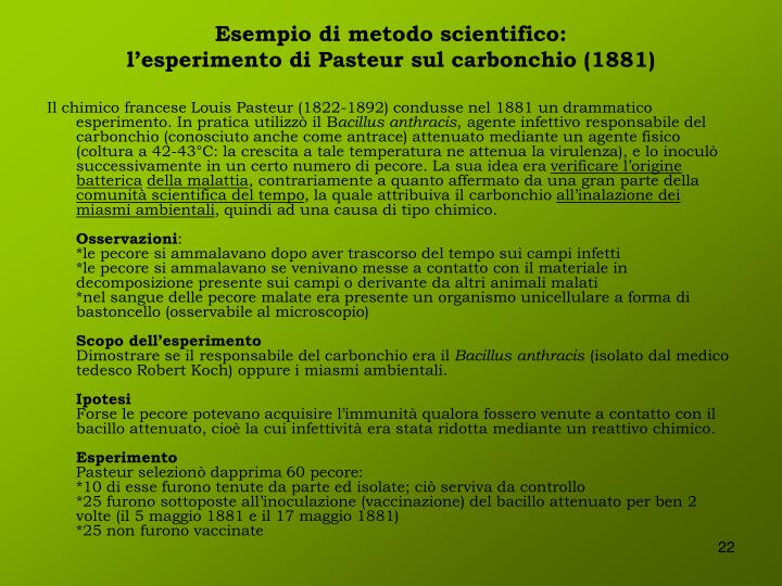 Esempio di metodo scientifico: