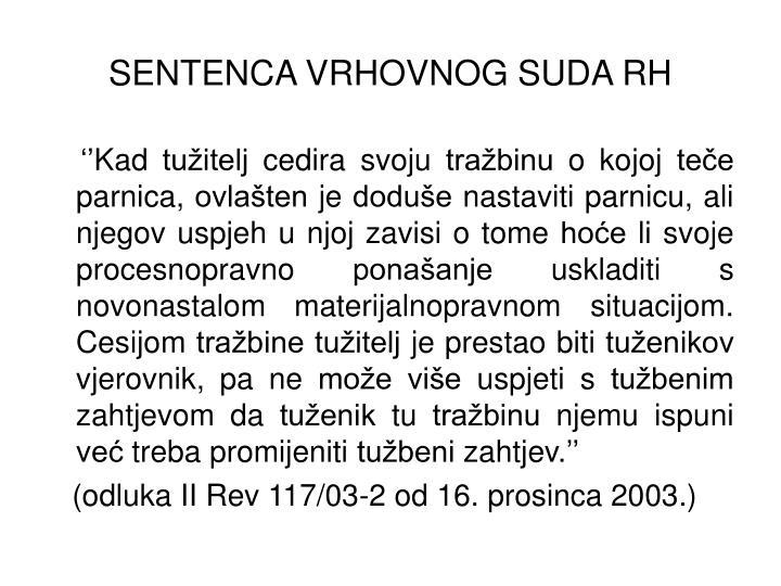 SENTENCA VRHOVNOG SUDA RH
