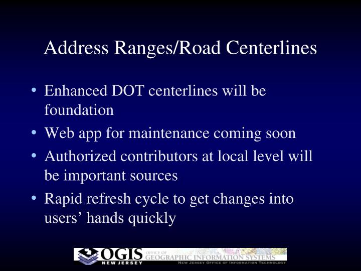Address Ranges/Road Centerlines