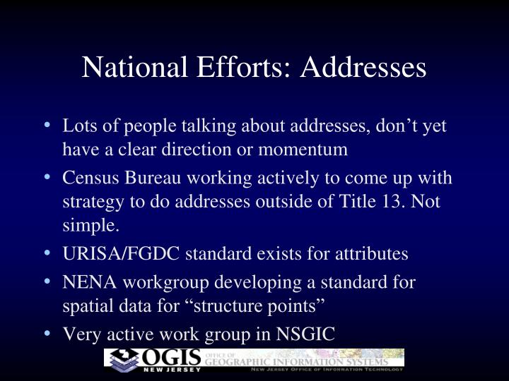 National Efforts: Addresses