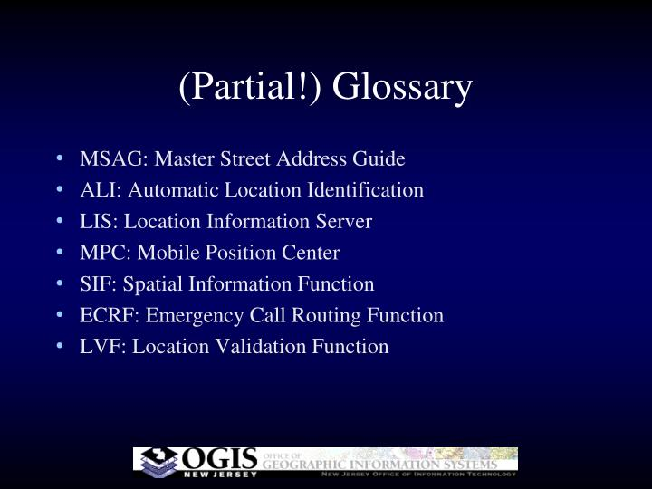 (Partial!) Glossary