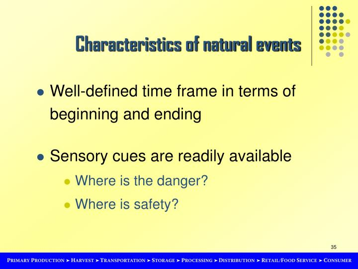Characteristics of natural events