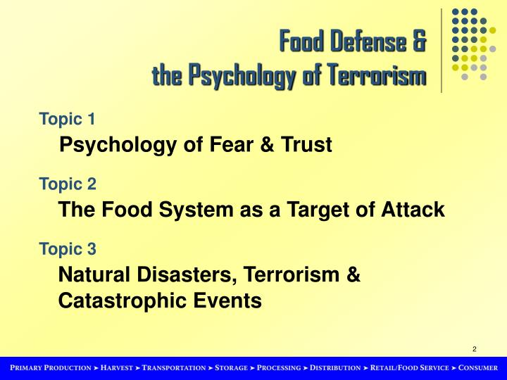Food defense the psychology of terrorism