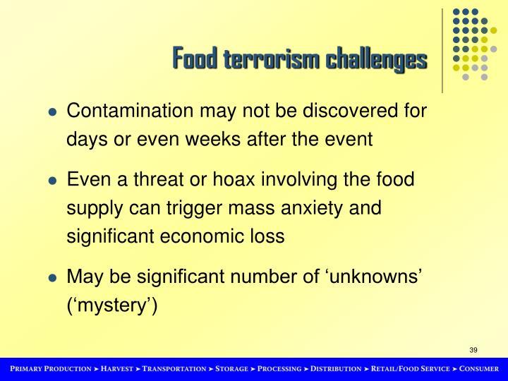 Food terrorism challenges