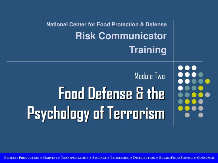 Module two food defense the psychology of terrorism