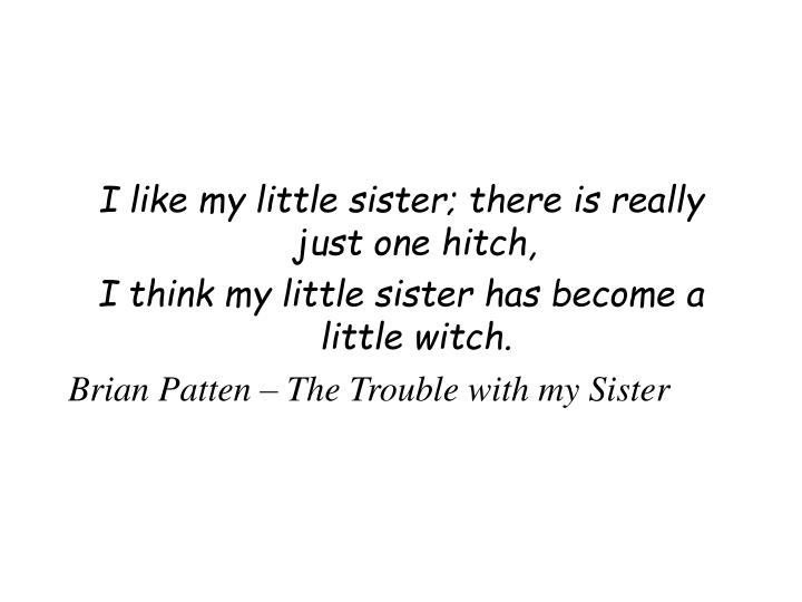 I like my little sister; there is really just one hitch,