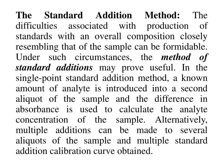 The Standard Addition Method: