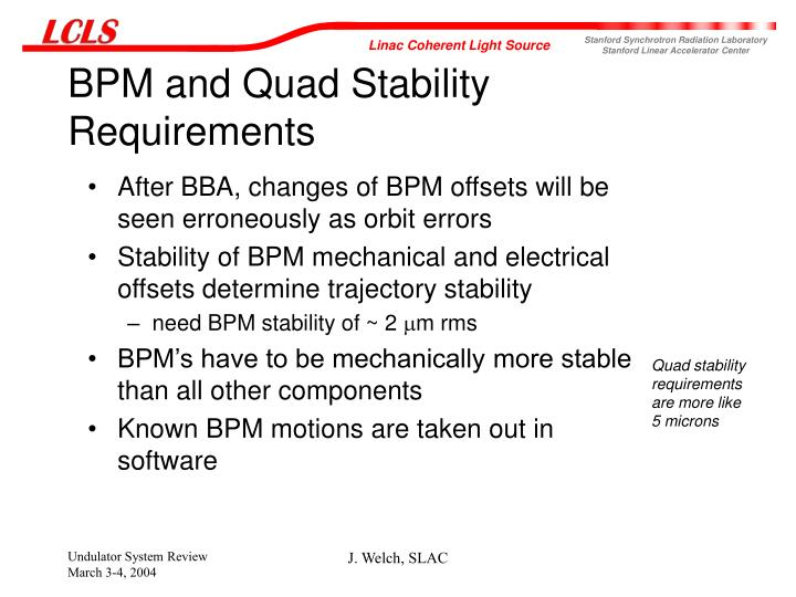 BPM and Quad Stability Requirements