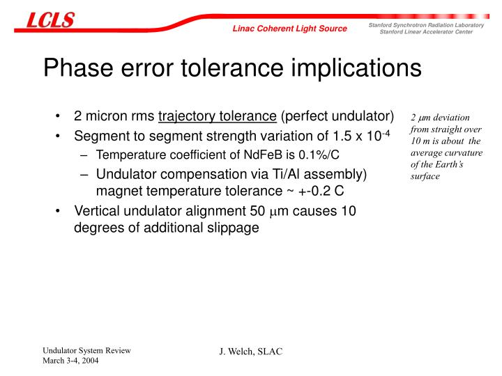 Phase error tolerance implications