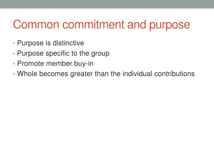 Common commitment and purpose