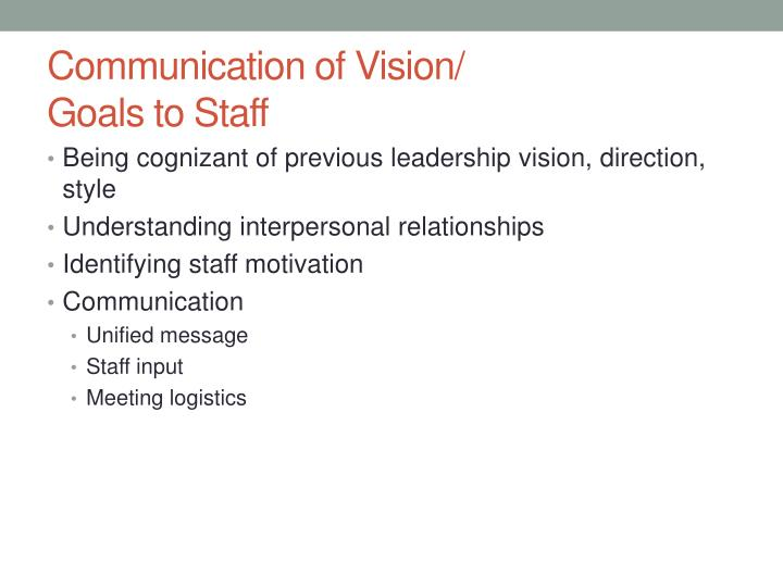 Communication of Vision/