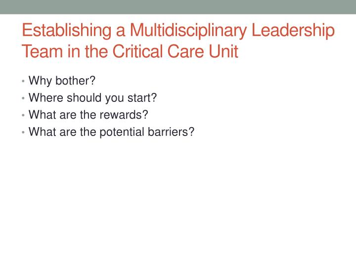 Establishing a Multidisciplinary Leadership Team in the Critical Care Unit