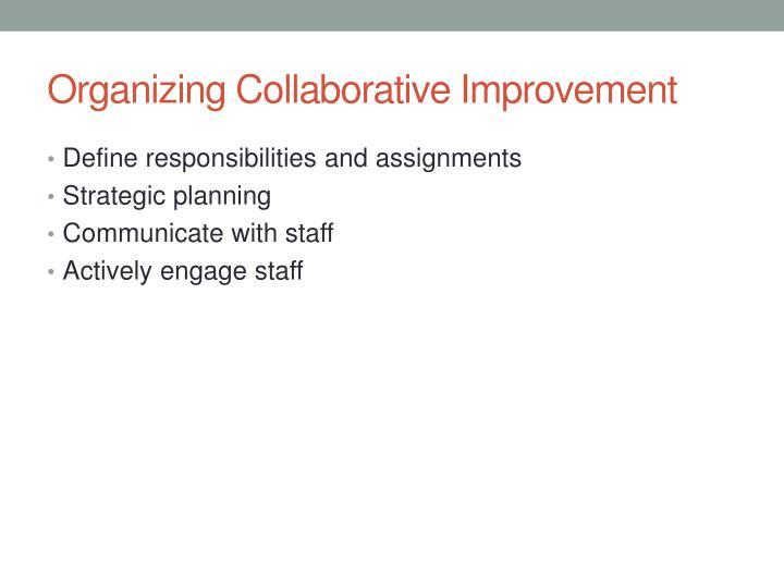 Organizing Collaborative Improvement