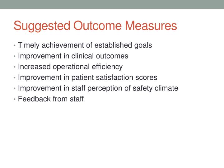 Suggested Outcome Measures