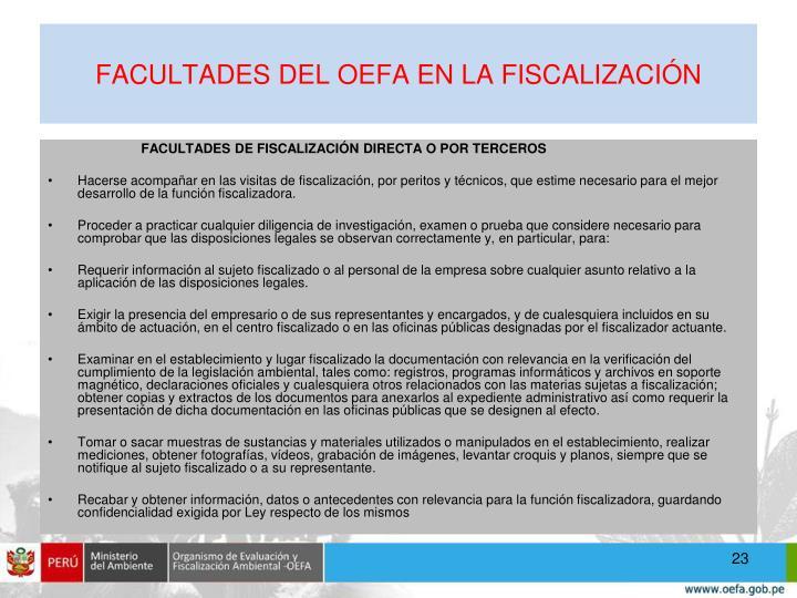 FACULTADES DEL OEFA EN LA FISCALIZACIÓN