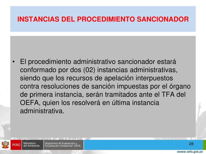 INSTANCIAS DEL PROCEDIMIENTO SANCIONADOR