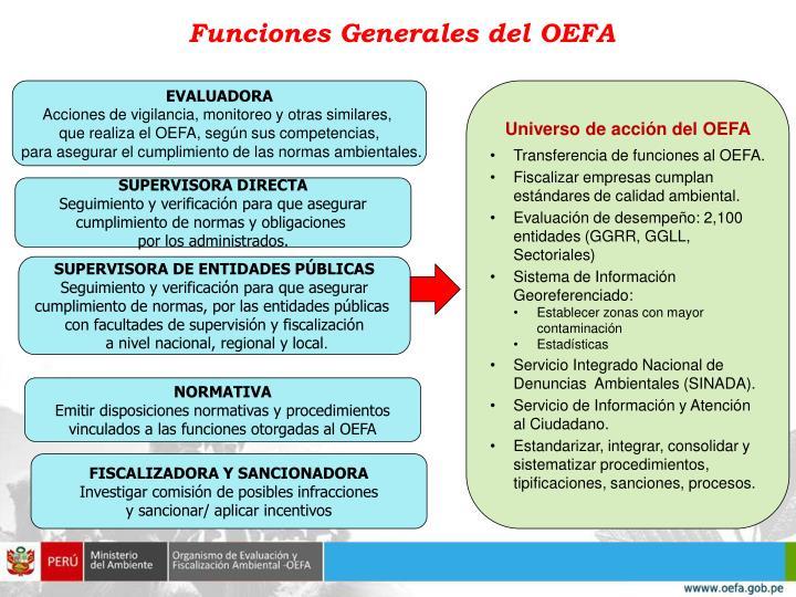 Funciones Generales del OEFA