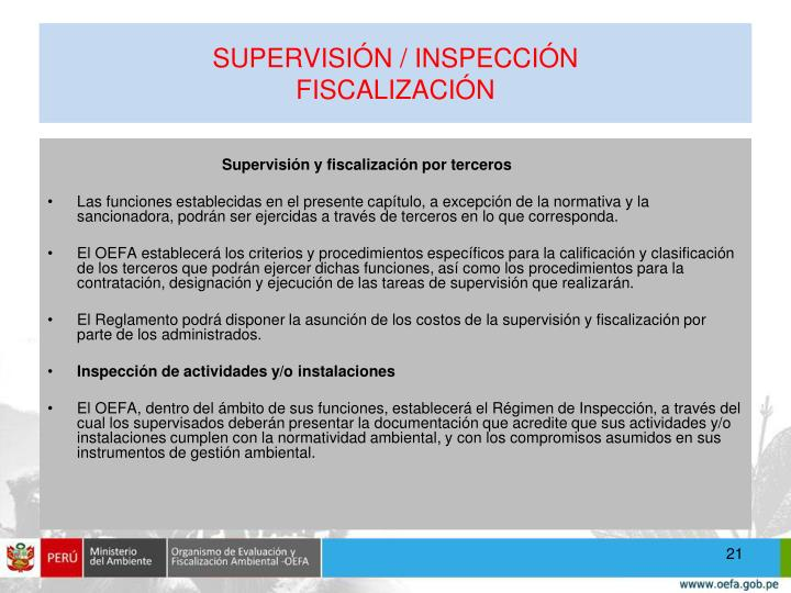 SUPERVISIÓN / INSPECCIÓN