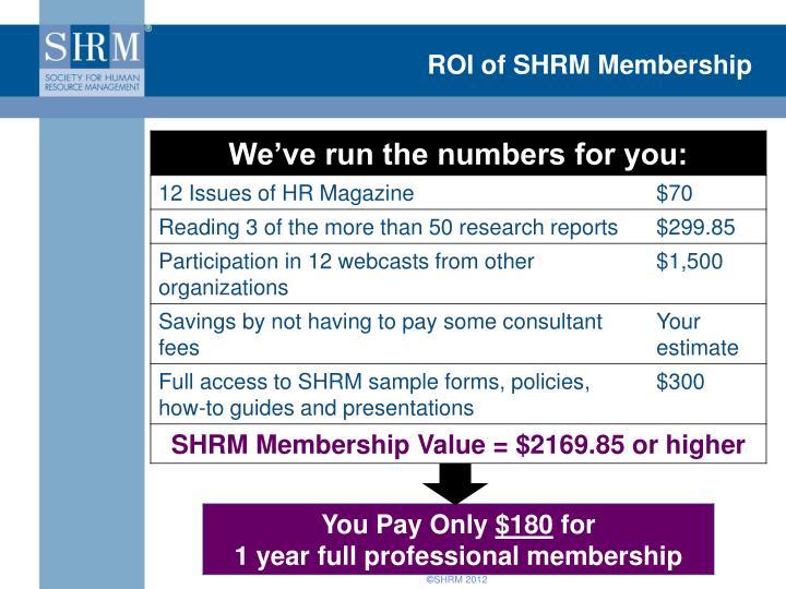ROI of SHRM Membership
