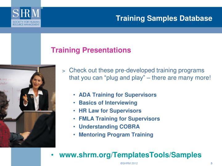 Training Samples Database