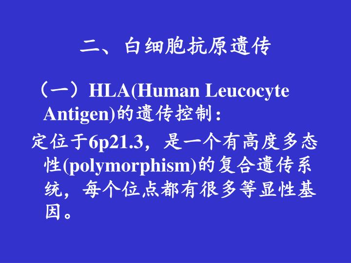 二、白细胞抗原遗传