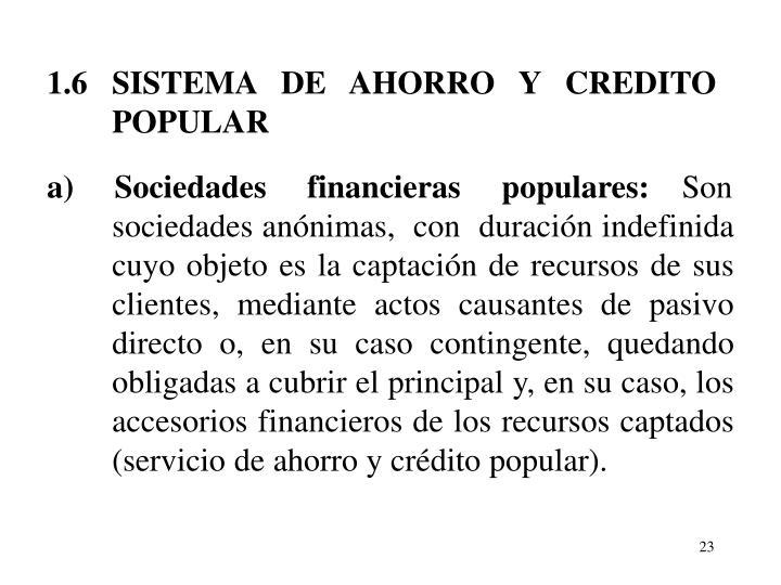 1.6   SISTEMA   DE   AHORRO   Y   CREDITO