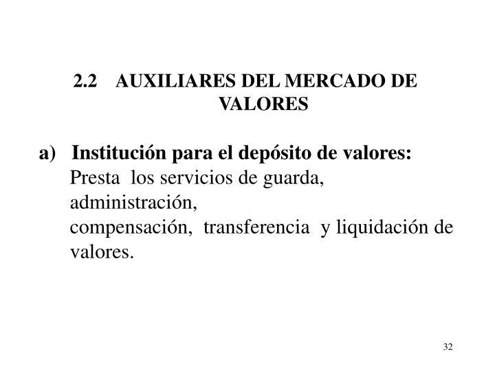 2.2    AUXILIARES DEL MERCADO DE VALORES
