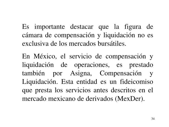 Es importante destacar que la figura de cmara de compensacin y liquidacin no es exclusiva de los mercados burstiles.