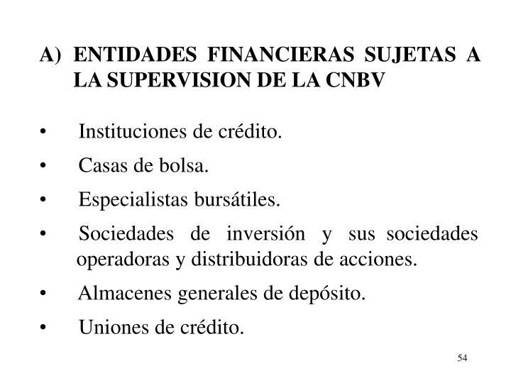 A)ENTIDADES FINANCIERAS SUJETAS A LA SUPERVISION DE LA CNBV