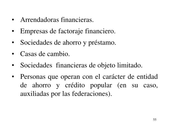 Arrendadoras financieras