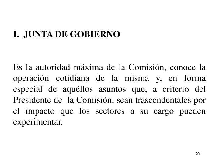 I.  JUNTA DE GOBIERNO