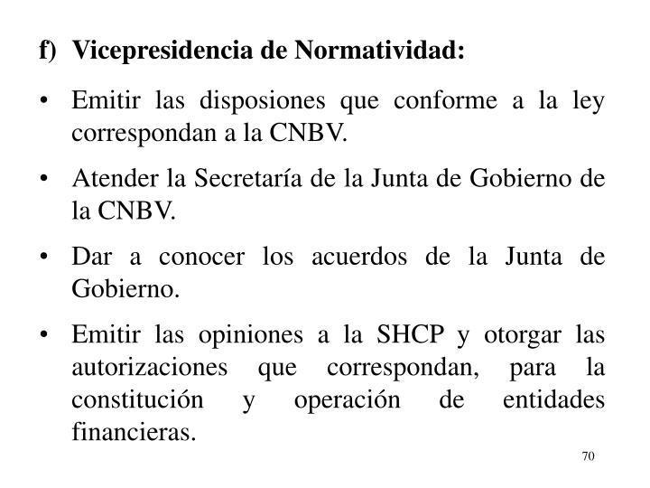 f)Vicepresidencia de Normatividad: