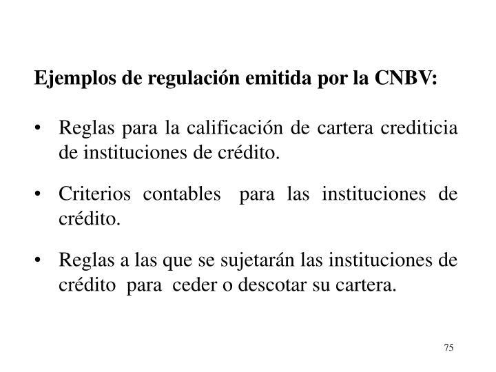 Ejemplos de regulacin emitida por la CNBV: