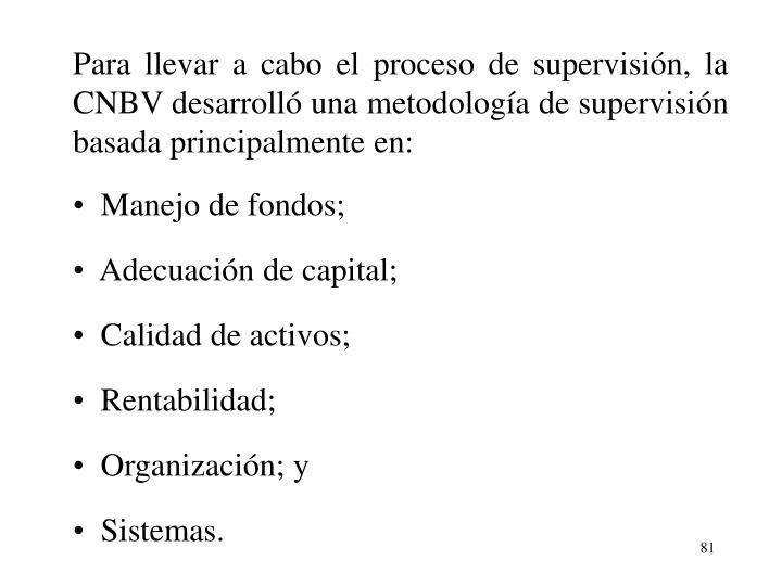 Para llevar a cabo el proceso de supervisin, la CNBV desarroll una metodologa de supervisin basada principalmente en:
