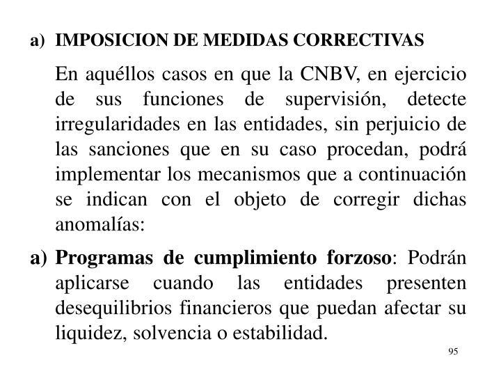 a)IMPOSICION DE MEDIDAS CORRECTIVAS